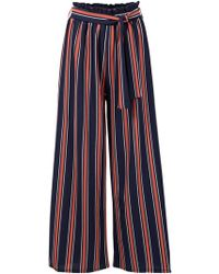 Dorothy Perkins Izabel London Navy Striped Pants - Blue