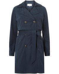 Dorothy Perkins - Vila Navy Tie Waist Trench Coat - Lyst