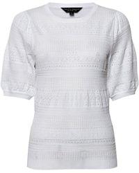 Dorothy Perkins Ivory Pointelle Puff T-shirt, Ivory - White