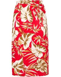 Dorothy Perkins Petite Red Tropical Print Skirt