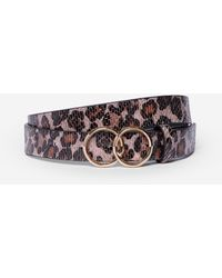 Dorothy Perkins Pink Leopard Print Double Circle Belt