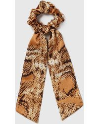 Dorothy Perkins Multi Coloured Faux Snake Skin Scrunchie, Multi Color - Brown