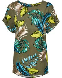 Dorothy Perkins Tall Khaki Tropical Print T-shirt - Multicolour