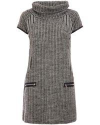Dorothy Perkins Quiz Gray Cowl Neck Short Sleeve Shift Dress, Gray
