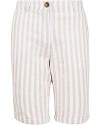 Dorothy Perkins White Stripe Print Knee Shorts With Linen, White