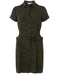 Dorothy Perkins - Petite Khaki Animal Print Shirt Dress - Lyst