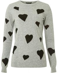 Dorothy Perkins - Breast Cancer Care Grey Gem Heart Print Jumper - Lyst