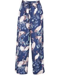 Dorothy Perkins Tenki Blue Wide Leg Trousers