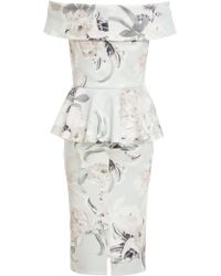 Dorothy Perkins Quiz Floral Print Bardot Midi Dress - Grey