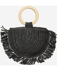 Dorothy Perkins Southbeach Black Straw Beach Bag