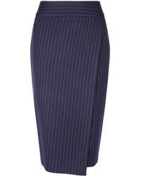 Dorothy Perkins Navy Pinstriped Wrap Skirt - Blue