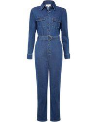Dorothy Perkins Blue Indigo Belted Denim Boilersuit, Blue