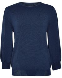 Dorothy Perkins Navy Fine Knit 3/4 Sleeve Sweater - Blue