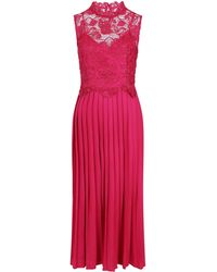 Little Mistress Pink Lace Pleat Maxi Dress