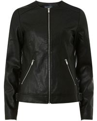 Dorothy Perkins Tall Black Faux-leather Collarless Jacket