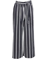 Izabel London Izabel London Navy Striped Pants - Blue