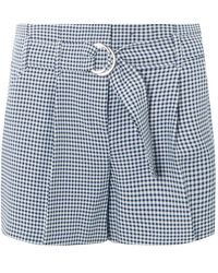 Dorothy Perkins - Navy Gingham O-ring Tailored Shorts - Lyst