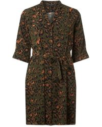 Dorothy Perkins - Khaki Animal Print Shirt Dress - Lyst