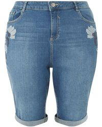 Dorothy Perkins - Dp Curve Blue Embroidered Mid Wash Shorts - Lyst