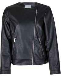 Dorothy Perkins Dp Petite Black Faux Leather Collarless Jacket, Black