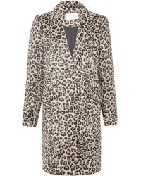 Vila Brown Animal Print Longline Coat
