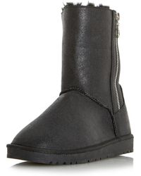 d4cf03561b4 Dorothy Perkins - Head Over Heels By Dune Ricki Black Ladies Flat Boots -  Lyst