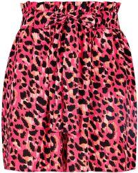 Dorothy Perkins Multi Color Animal Print Tab Shorts - Pink