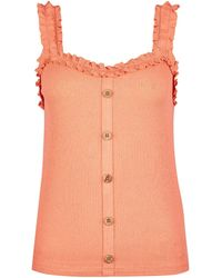 Dorothy Perkins Coral Frill Button Vest, Coral - Multicolor