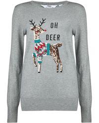 Dorothy Perkins Tall Gray Oh Deer Christmas Sweater