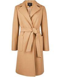 Dorothy Perkins Camel Patch Pocket Wrap Coat - Brown