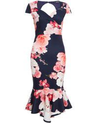 Quiz - Fishtail Midi Dress - Lyst
