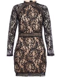 edbec78da62 Lyst - Dorothy Perkins Quiz Black Floral Strappy Bardot Dress in Black