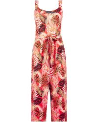 Dorothy Perkins Red Tropical Print Wide Leg Jumpsuit, Red