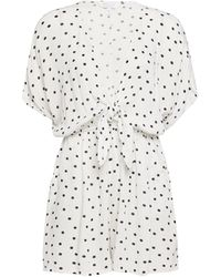Dorothy Perkins Dp Beach Ivory Spot Print Knot Front Playsuit - White