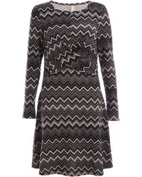 Quiz Quiz Black And Grey Front Knot Detail Skater Dress - Gray