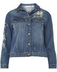 Dorothy Perkins - Petite Embroidered Denim Jacket - Lyst