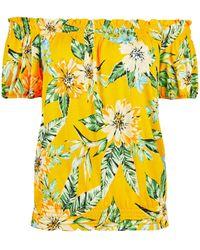 Dorothy Perkins Yellow Tropical Print Bardot Top, Yellow