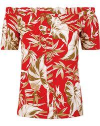 37f46dcb4f30a4 Lyst - Dorothy Perkins Multicolour Zebra Tropical Print Bardot Top