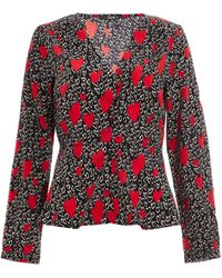Dorothy Perkins Quiz Black And Red Heart Print Blouse, Black