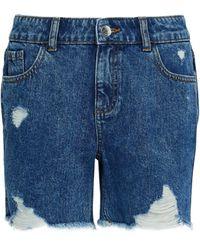 Dorothy Perkins Dp Tall Indigo Ripped Denim Shorts - Blue