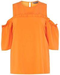 Dorothy Perkins - Tall Orange Cold Shoulder Top - Lyst