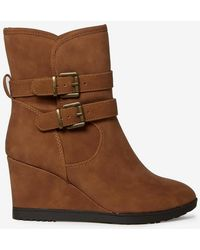 Dorothy Perkins - Wide Fit Tan 'kim' Wedge Boots - Lyst