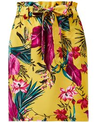 Dorothy Perkins Yellow Tropical Print Tie Mini Skirt