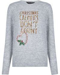 Dorothy Perkins Gray Christmas Calories Dont Count Sweater, Gray