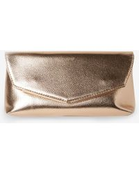 Dorothy Perkins Rose Gold Metal Bar Clutch Bag - Metallic