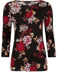 Dorothy Perkins Black Floral Print 3⁄4 Sleeve Cotton T-shirt, Black