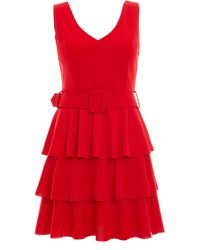 Dorothy Perkins Quiz Red Layered Ra-ra Belted Dress, Red