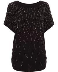 Dorothy Perkins Quiz Stud Detail Short Sleeve Top - Black