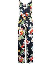 Dorothy Perkins Black Floral Print Strappy Jumpsuit, Black