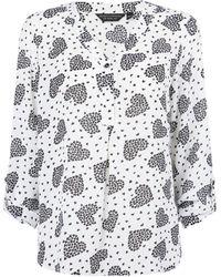 Dorothy Perkins White Heart Print Roll Sleeve Blouse, White